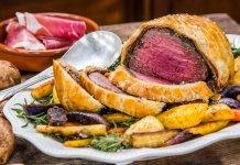 Beef Wellington filet steak wrapped in puff pastry