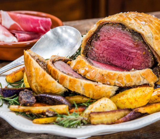Beef Wellington filet steak wrapped in puff pastry