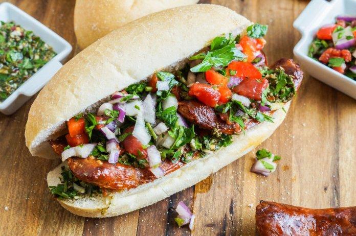 Choripan chorizo sausage sandwich