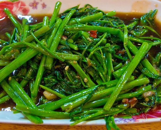 Phak Bung Fai Daeng stir fried morning glory