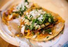Taco tortilla folded around a filling