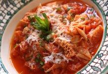 Trippa alla Romana tripe in spicy tomato sauce